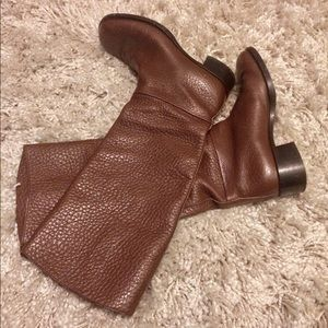 PRADA Pull On Brown Leather Knee-High Riding Boot